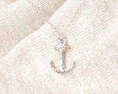 Hammered Anchor Necklace - solid sterling silver anchor and chain