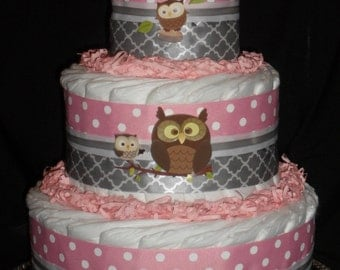 Pink and Gray Owl Theme Diapercake