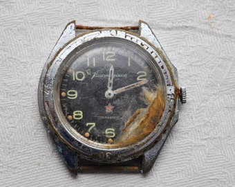 COMMANDING Vintage Soviet Russian wrist watch for parts.Didn't work.