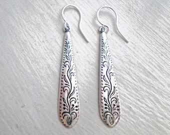 Antique Silver Earrings/Silver Boho Earrings/Boho Earrings/Etched Earrings/Bohemian Earrings/Dainty Earrings/Mother's Day Gift/Boho Chic