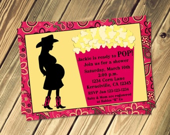 Cowgirl Ready To Pop Popcorn Shower Invitation and Popcorn Wrapper Print Your Own