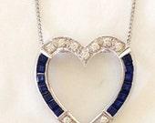 Reserved for janet Sapphire Diamond heart Pendant Slide, 14k white gold for Necklace, September birthstone Custom, Vintage, Art Deco 60s 8