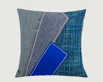 "Decorative Pillow Case, Blue, Turquoise, Grey fabrics, Applique Throw pillow case, fits 18""x18"" insert, Cushion case, Toss Pillow case"