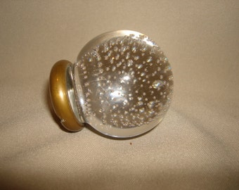 Antique Pairpoint Controlled Bubble Blown Glass Crystal Ball Door Knob Brass Collar