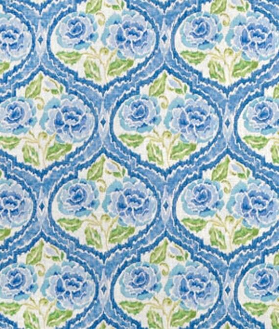 One Custom 52 x 72 Custom Tablecloth -  Kaufmann Floral Blue/Yellow Damask