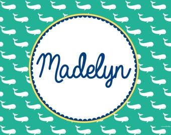 Personalized Preppy Whales Placemat