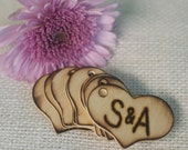 Set of 50 personalized hand engraved wedding rustic burned heart tags