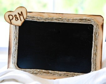 Personalized Rustic Wedding chalkboard Heart with initials can be used as table numbers or wedding sign