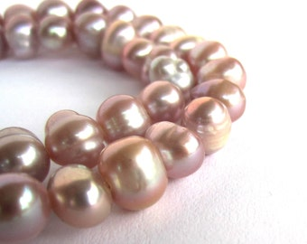 "14"" strand of 7-8mm mauve dusty pink potato freshwater pearls beads"