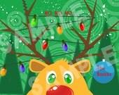 DIY Reindeer Christmas Lights Xmas Card - Holiday Card