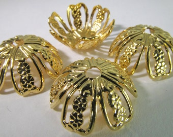 6 Vintage 16mm Gold-Plated Brass Filigree Bead Caps Mt207