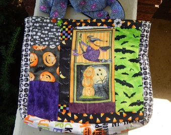 Halloween All Around Pumpkin and Witch  Trick or Treat tote