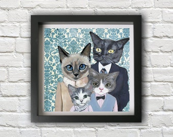 Family Portrait I - Cats In Clothes - Fine Art Print by Heather Mattoon