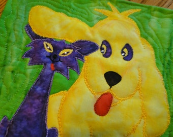 Dog and Cat Love - Opposites Attract Quilting Arts Challenge- Quilt Wall Art, Ready to Hang or Frame