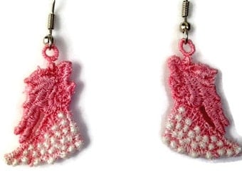 Lace Angel Earrings, Unique Lace Angel Earrings, Embroidered Angel Earrings, Angel Embroidery