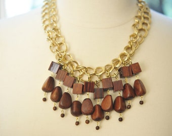 SALE Handmade Vintage Wood Cube Dangle Necklace