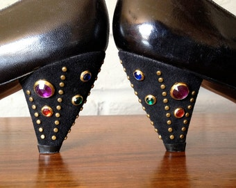 Bedazzled Heels Vintage 80s Cone Heel Pumps Shoes Black Leather Suede Embellished Multi Color Rhinestones 1980s Party Accessory Size 7 7.5