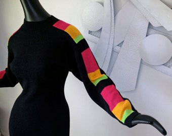 Neon MOD 80s Sweater Dress Rainbow Stripe 1980s Ski Sweater Style Black Neon Colors Sexy Skinny Fitted Pencil Skirt Body con shape Small