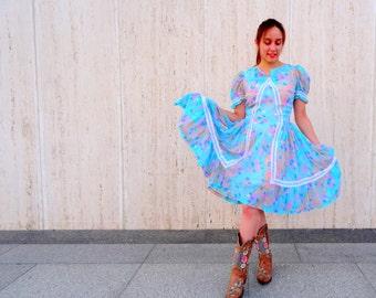 Vintage dress. squaw dress. patio dress. vintage dresses. retro dress. blue dress.