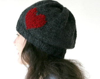 Red Heart Knit Hat in Grey - Christmas Gift -  Gray Knitting  Beanie - Valentine's - Fall Winter Fashion - Women Teens Accessories - Beret