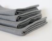 "Gray Linen Napkins...20"" Square (Set of 4)"