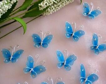100 pcs Turquoise Nylon Butterfly Embellishments for Wedding Favors, Invitation Card Making, Flower Arrangement, 1 Inch / 25 mm