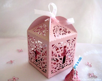 12 pcs Holy Cross Pink Pearled Party Favor Boxes for Christening Favors, Baptism Favor, First Communion Favors