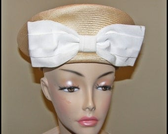 Vintage Hat Ladies Sailor Hat Stylized Crisp Clean Unique White Bow FREE Shipping USA