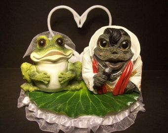 FROG Elvis Toads Lily pad Wedding Cake Topper FUNNY Cute Unique The King of Rock and Roll