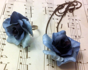Handmade Polymer Clay Shimmery Blue Roses - Handmade Jewelry Set for Weddings and Parties - Necklace and Statement Cocktail Ring