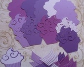 Purple / Purples Cupcake shapes / Die Cut pieces made from cardstock paper for DIY Birthday Crafts Projects Cards
