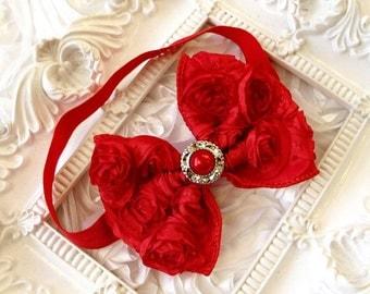 Vintage Inspired,shabby Baby Girl  Red  Rosette Bow, elastic headband,Toddler ,Infant ,girl headband.
