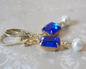Cobalt Blue Jewelry Blue Bridesmaid Jewelry Bright Blue Earrings Cobalt Wedding Blue Crystal Earring Royal Blue Jewelry Blue Wedding Jewelry
