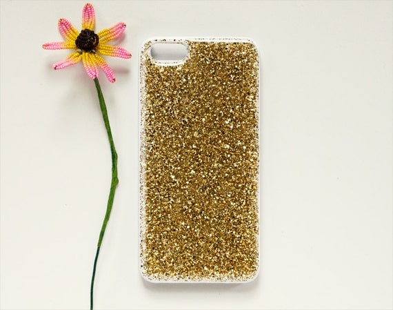 "SALE - real glitter iPhone case / 5 / 5s / 6 / 6s // resin coated gold or silver // ""DRUZY"""