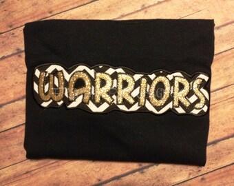 School Pride WARRIORS Applique Shirt Customized