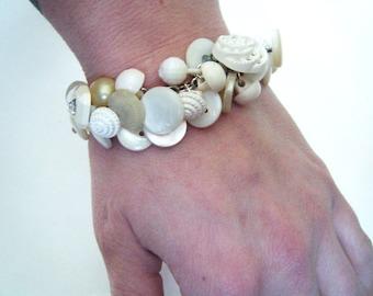 Vintage white button bracelet