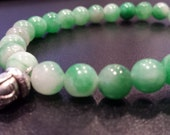 Green Stone Buddha Bracelet 8, Green Adventurine stretch bracelet, Prosperity Gift, Men's gift, Large Bracelet