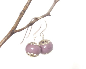 Pink Glass and Sterling Silver Drop Earrings