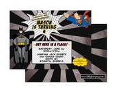 VINTAGE SUPERHERO inspired Birthday Invitation, Digital or Professionally Printed Invitation