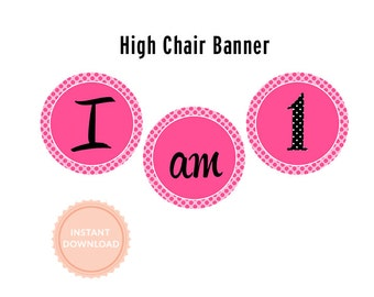 INSTANT DOWNLOAD, TUTUS High Chair Banner  (Pink and Black Polka - Zebra - Ballet Party - 1st birthday Banner)