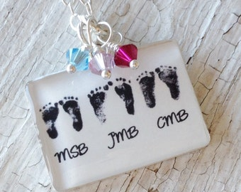 Mother's Necklace - Your Child's ACTUAL Footprints Necklace - Child's Footprints - Triplets - Mother's Day Jewelry - Mommy of Three