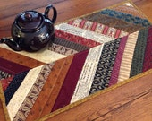 Fall Quilted Runner, herringbone, primitive kitchen decoration, table topper, brown, maroon, burgundy,