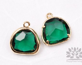 F119-01-G-RB // Gold Framed Emerald Glass Stone Pendant, 2Pcs