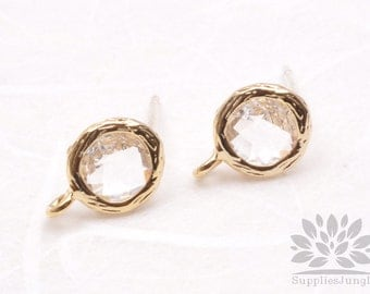 E200-G-CL// Gold Plated Clear Crystal Round Glass Post Earring, 2 pcs