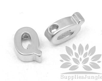 """IP002-MR-Q// Matt Original Rhodium Plated Simple Initial """"Q"""" Pendant, 2 pcs"""