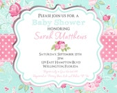 Shabby Chic Baby Shower Invitation, Girl Baby Shower Invitation, Baby Shower Invite, Shabby Chic Invitation, Printable Invitation