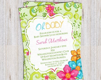 Hawaiian Luau Baby Shower Invitation Tropical Birthday or Retirement Party Printable Invite