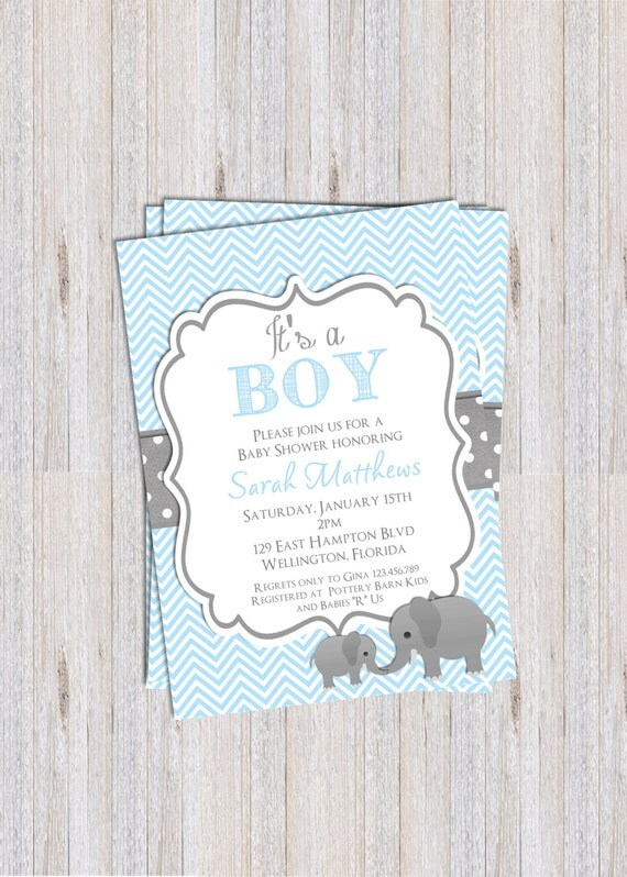 Elephant  Boy Baby Shower Invitation Baptism or Christening Blue Chevron Gray Printable Custom Invite