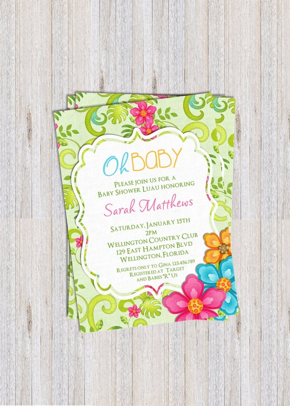 Hawaiian Luau Baby Shower Invitation Tropical Birthday or Retirement Party Printable Invite
