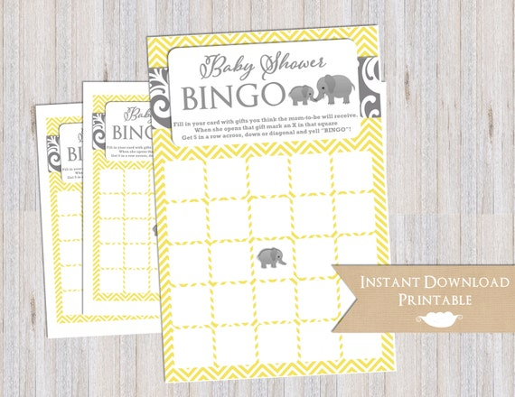 Baby Shower Bingo Game Cards Yellow and Gray Chevron Elephant Printable INSTANT DOWNLOAD